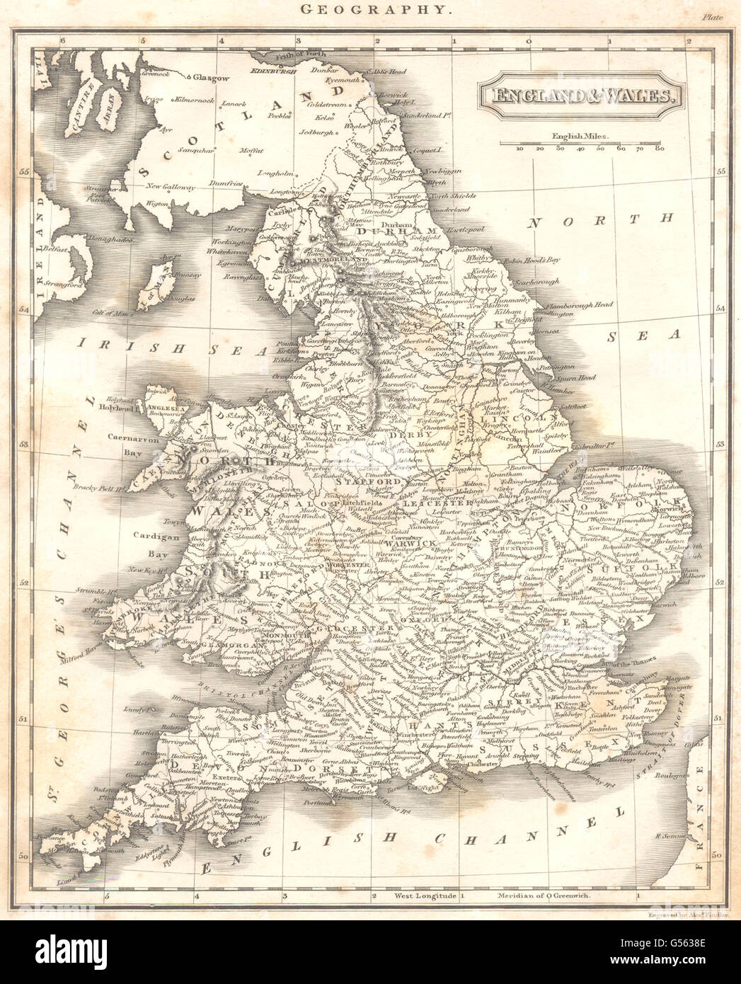 Map Of England Counties And Towns.United Kingdom England Wales Showing Mains Towns Counties 1830