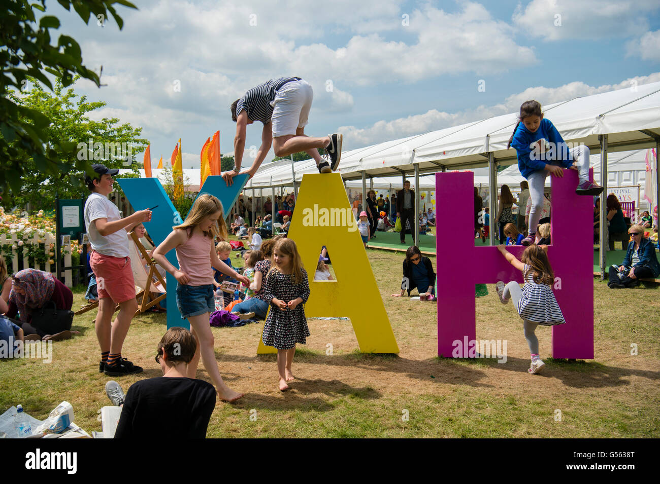 General view of  people attending the annual The Hay Festival of Literature and the Arts, 'the Woodstock of - Stock Image