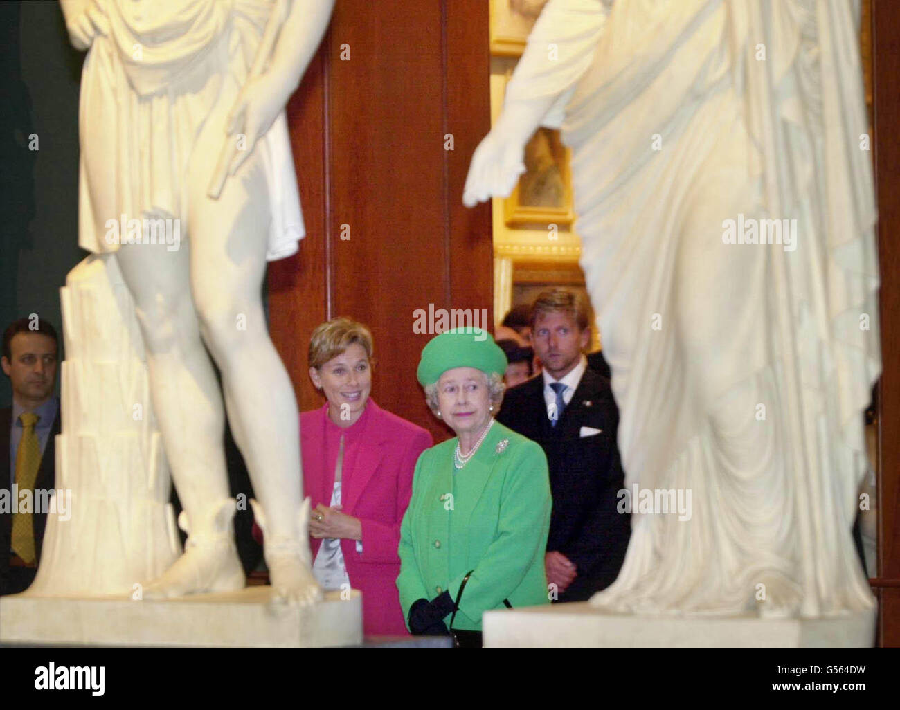 Britain's Queen Elizabeth II, centre, at the National Gallery of Modern Art in Rome, on the second day of her state Stock Photo