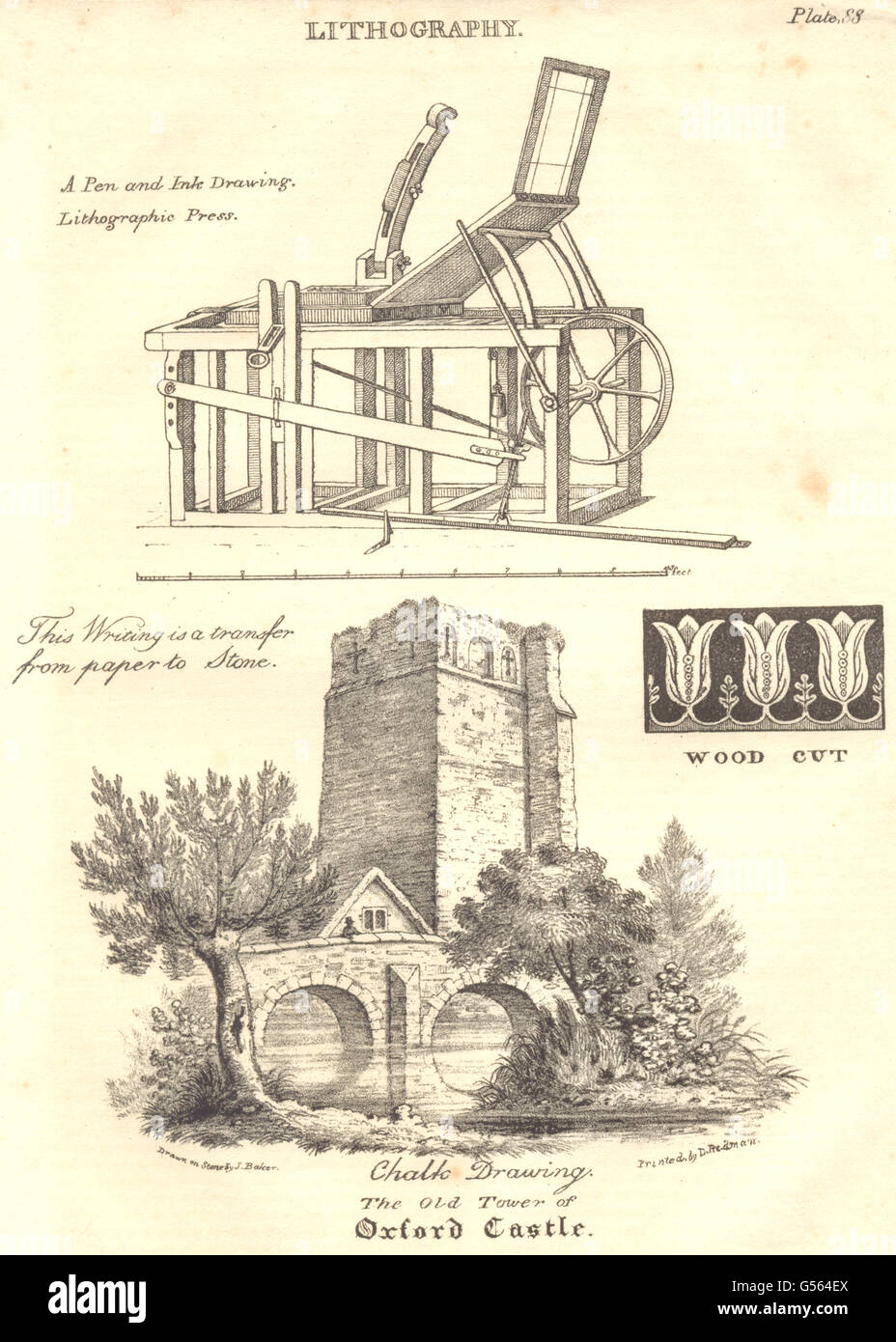 OXFORD: Lithography; Lithographic Press; The old tower of Oxford Castle, 1830 - Stock Image