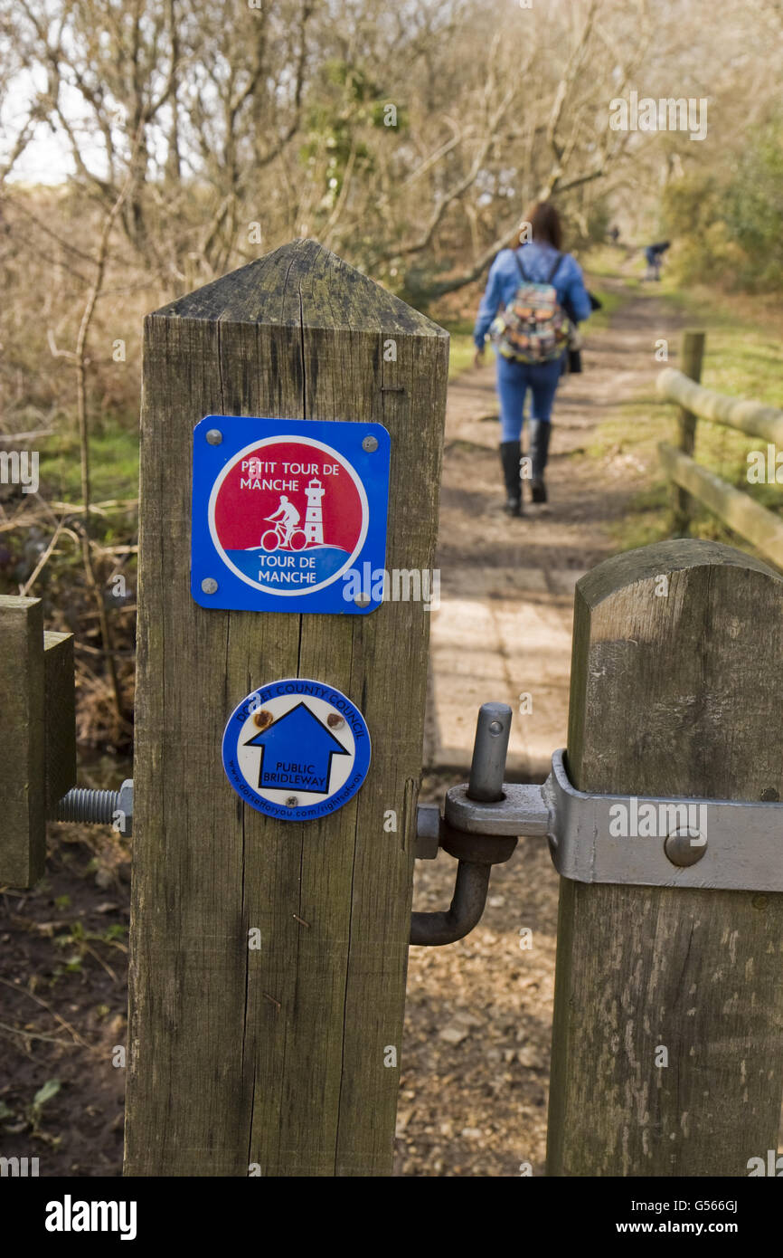 'Petit Tour de Manche' sign on gatepost, 450km journey along part of Jurassic Coast and across English Channel - Stock Image