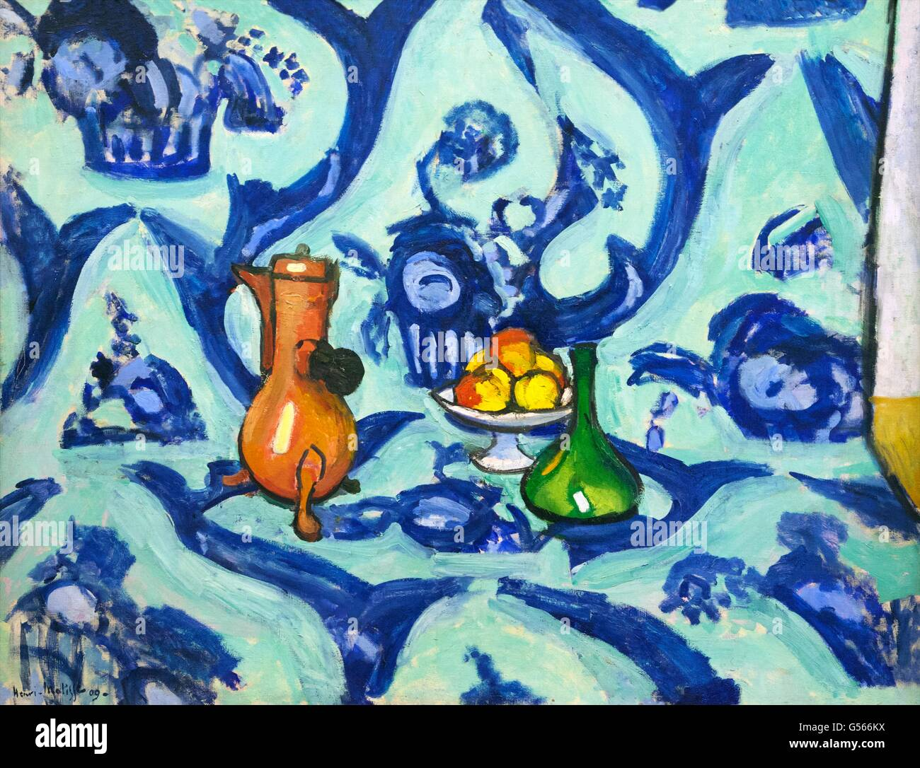Still Life with Blue Tablecloth, by Henri Matisse, 1909, State Hermitage Museum, Saint Petersburg, Russia - Stock Image
