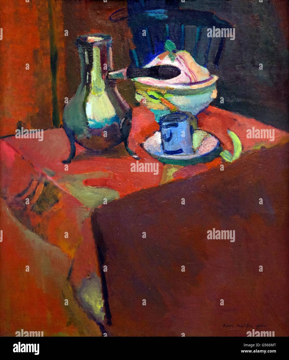 Crockery on a Table, by Henri Matisse, 1900, State Hermitage Museum, Saint Petersburg, Russia - Stock Image