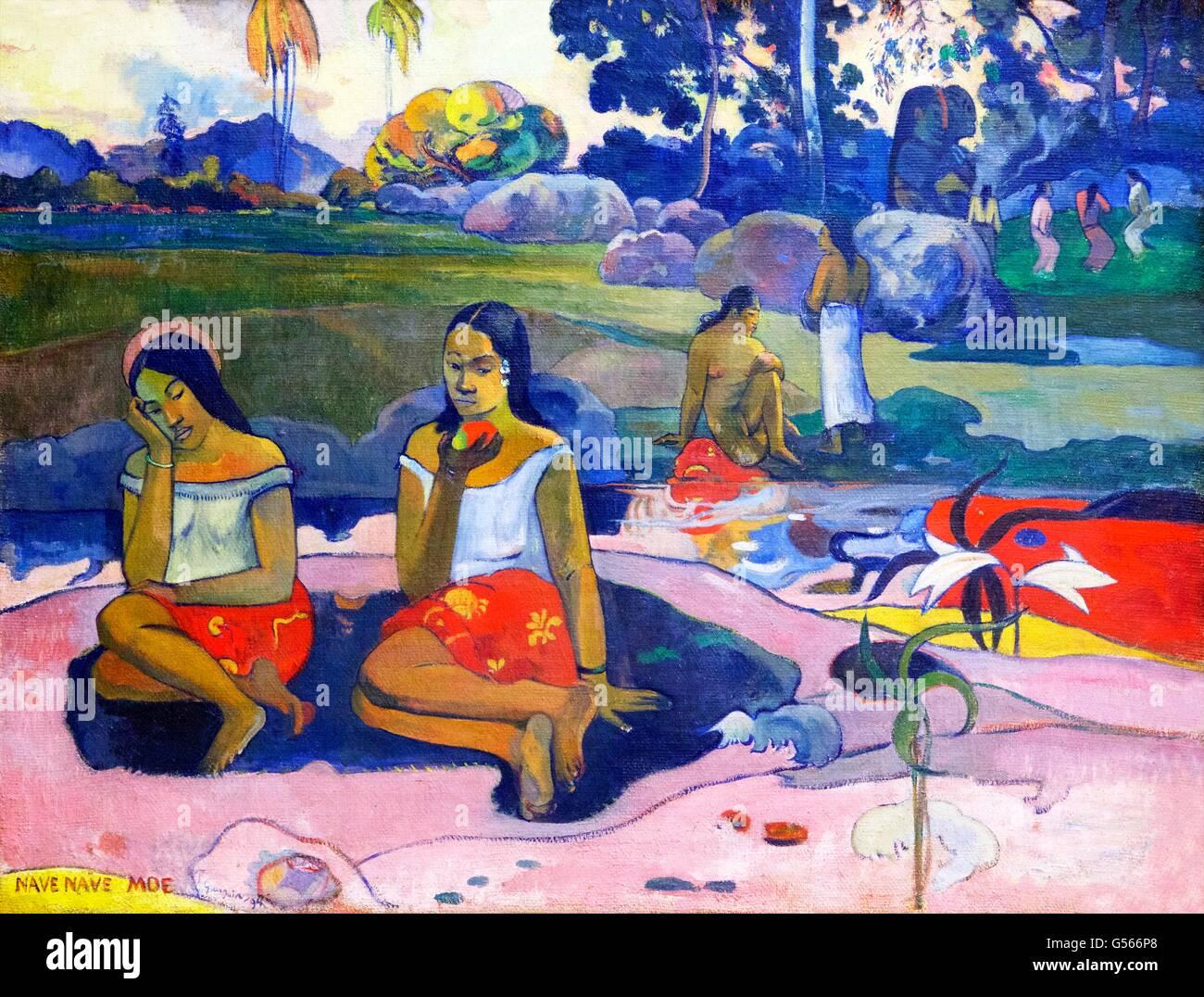 Nave Nave Moe, Sacred Spring, Sweet Dreams, by Paul Gauguin, 1894, State Hermitage Museum, Saint Petersburg, Russia - Stock Image