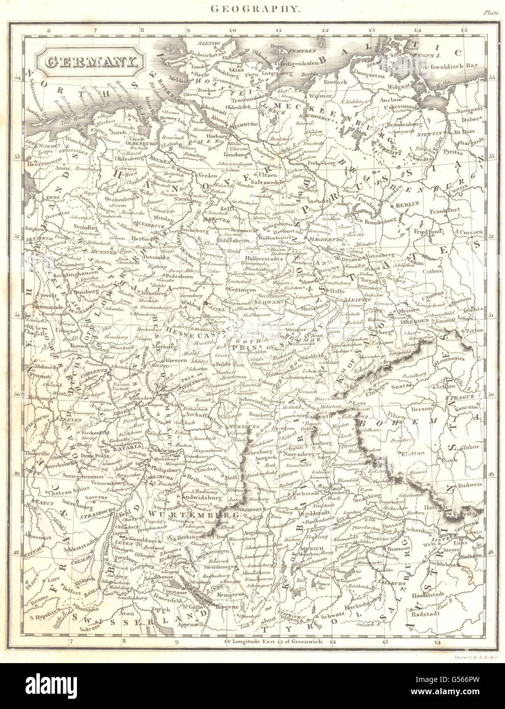 GERMANY: Map. (Oxford Encyclopaedia), 1830 - Stock Image