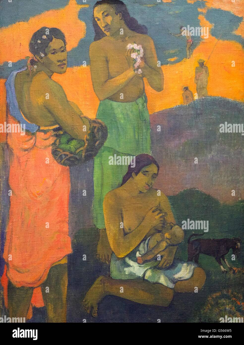 Maternity, or Three Women on the Seashore, by Paul Gauguin, 1899, State Hermitage Museum, Saint Petersburg, Russia - Stock Image