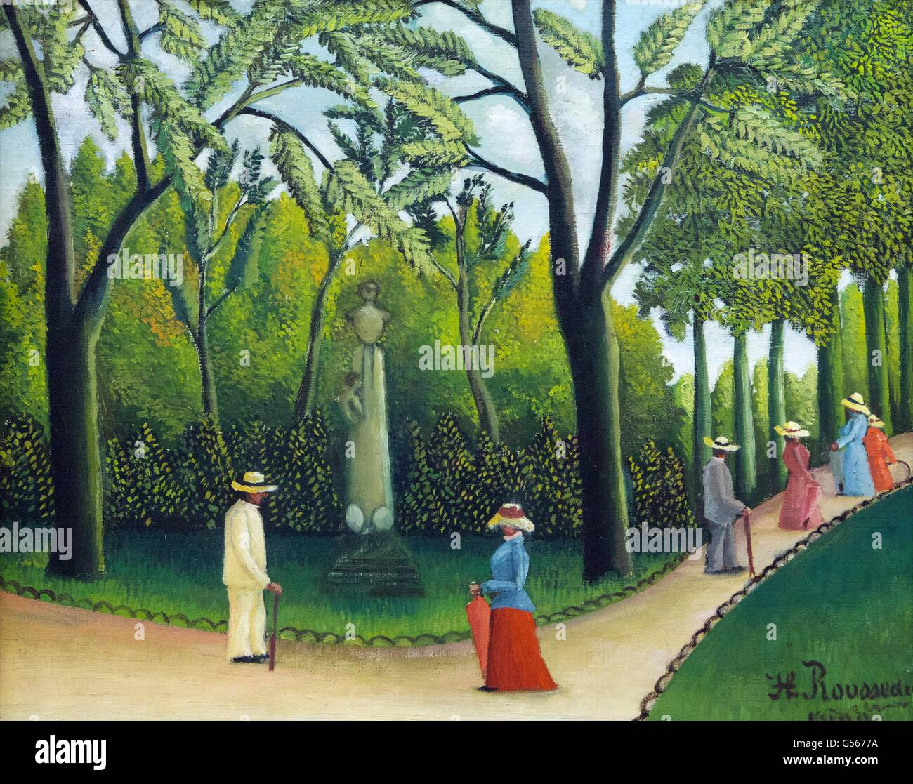 Luxemburg Garden, Monument to Chopin, by Henri Rousseau, 1909, State Hermitage Museum, Saint Petersburg, Russia - Stock Image