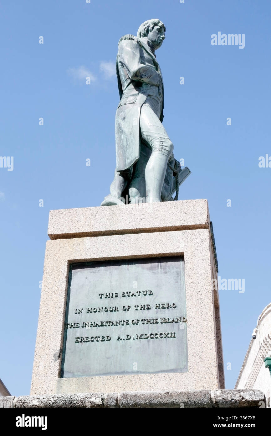 statue of Admiral Lord Horatio Nelson, in Bridgetown, Barbados, Caribbean - Stock Image