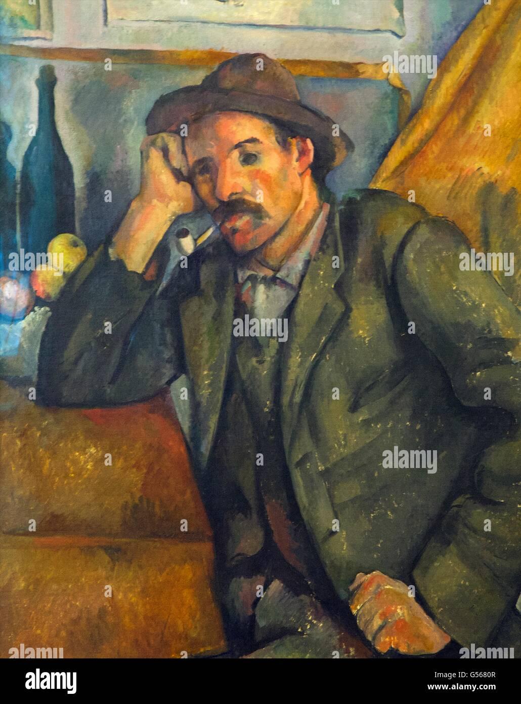 Smoker, by Paul Cezanne, 1890-1892, State Hermitage Museum, Saint Petersburg, Russia - Stock Image
