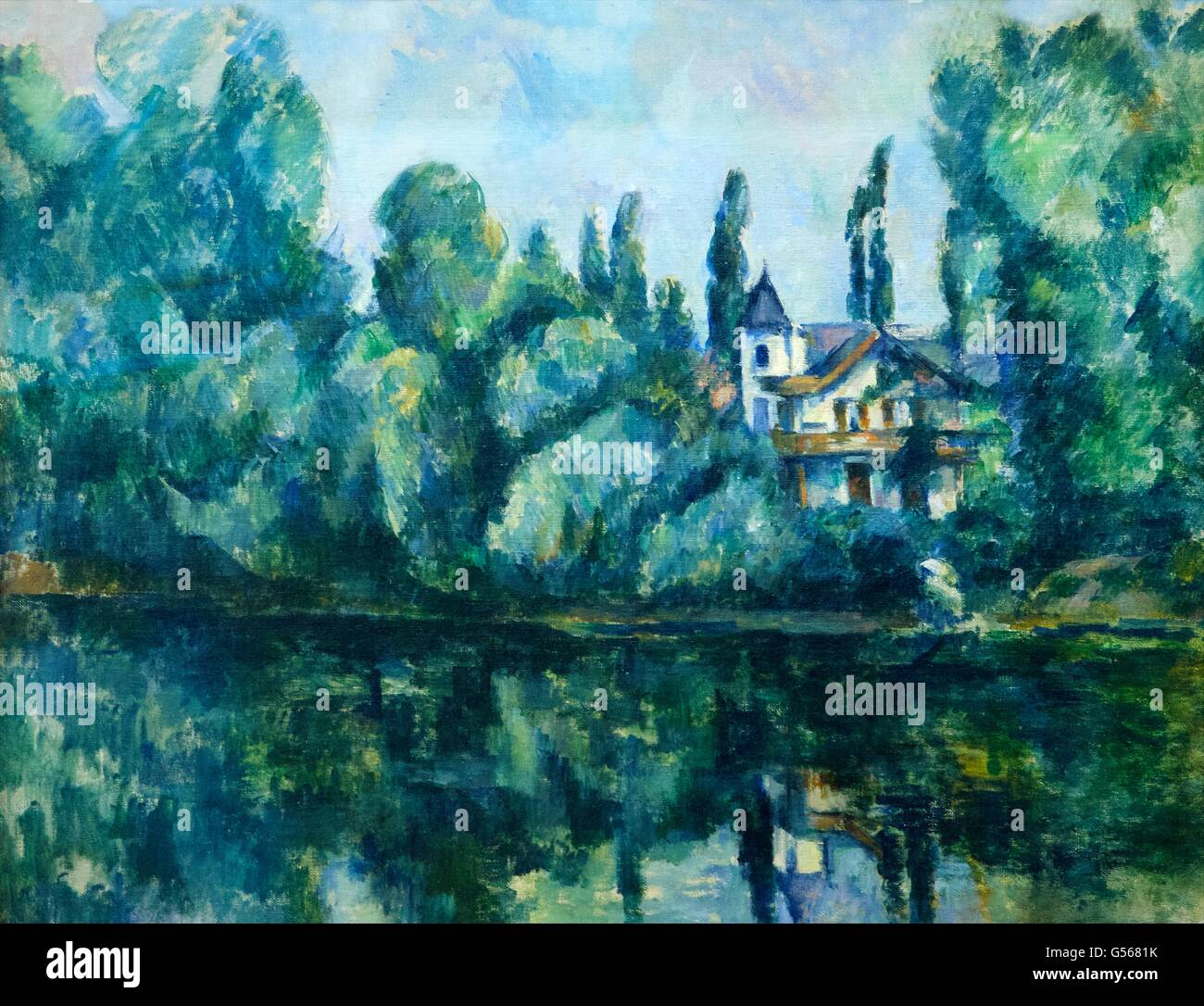Banks of the Marne, by Paul Cezanne, 1888, State Hermitage Museum, Saint Petersburg, Russia - Stock Image