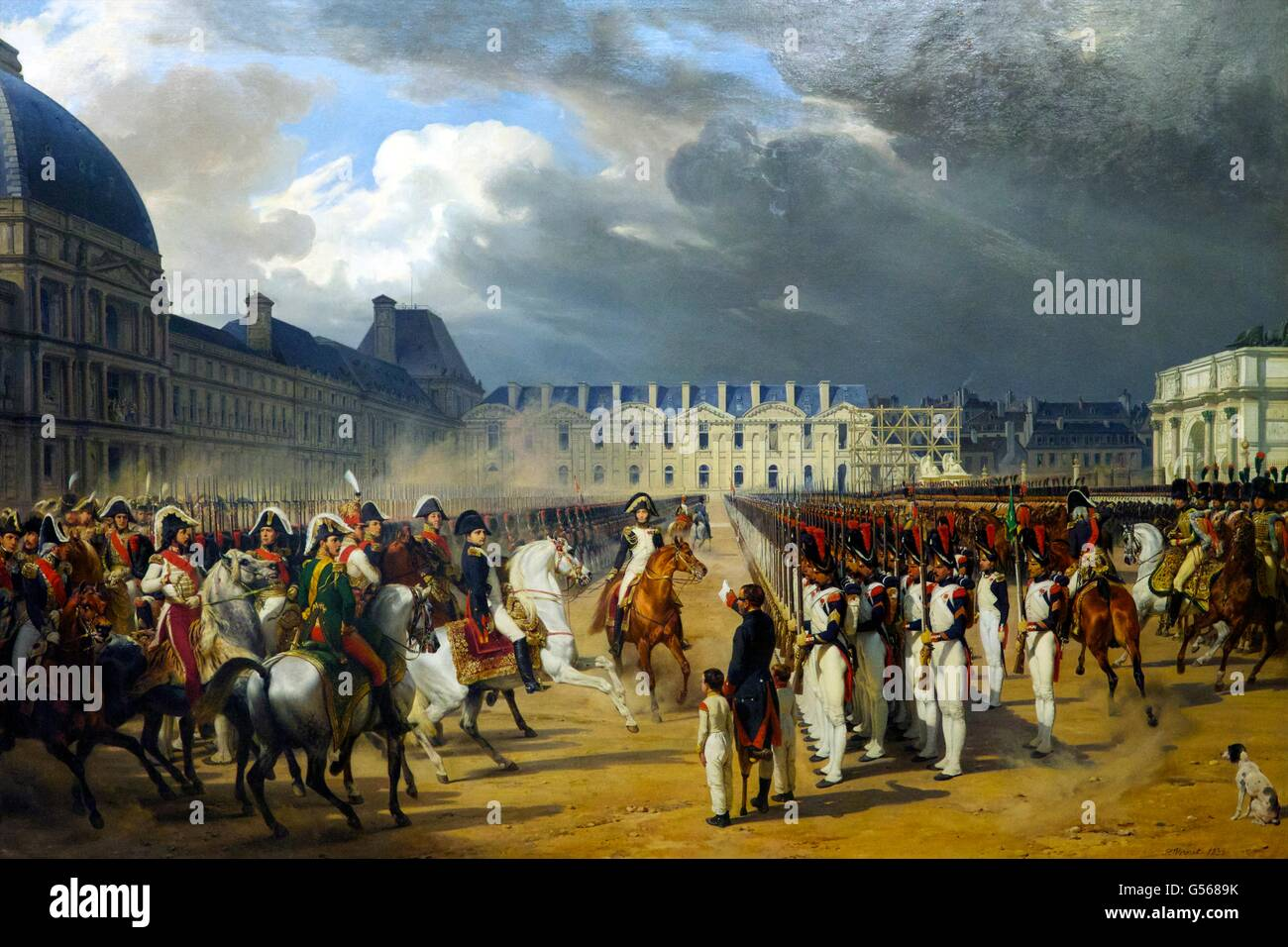 Invalid Handing a Petition to Napoleon at the Parade in the Court of the Tuileries Palace in Paris, by Horace Vernet, - Stock Image