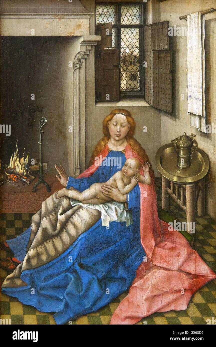 The Virgin and Child by a Fire-place, by Robert Campin, Master of Flemalle, circa 1380, State Hermitage Museum, - Stock Image