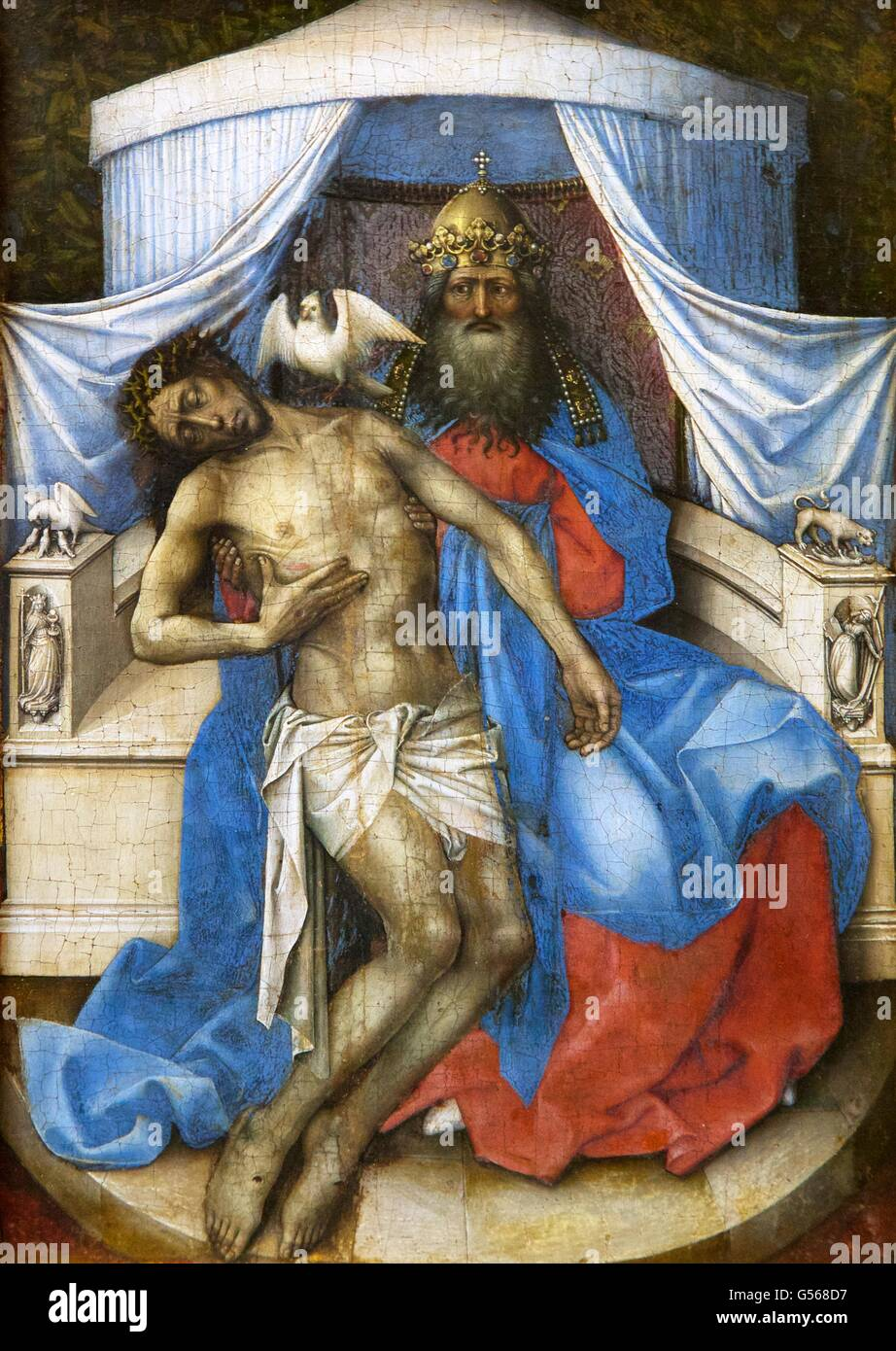 The Trinity, by Robert Campin, Master of Flemalle, circa 1380, State Hermitage Museum, Saint Petersburg, Russia - Stock Image
