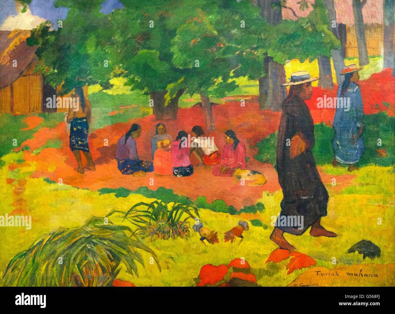 Taperaa Mahana, Late Afternoon, by Paul Gauguin, 1892, State Hermitage Museum, Saint Petersburg, Russia - Stock Image