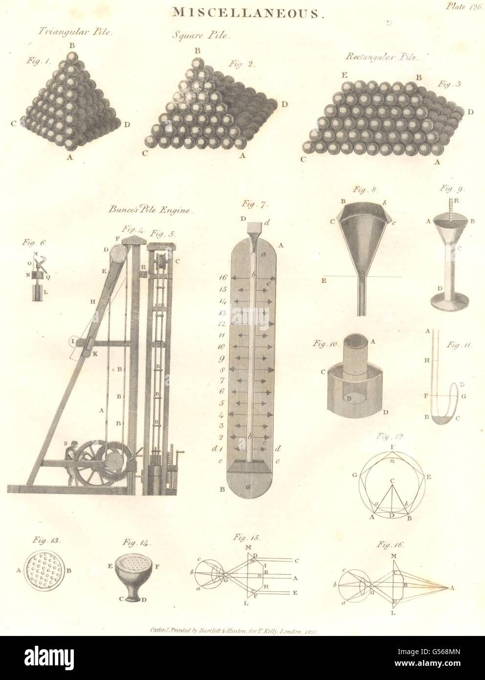 SCIENCE: Triangular, Square & Rectangular piles. Bunce's Pile Engine, 1830 - Stock Image