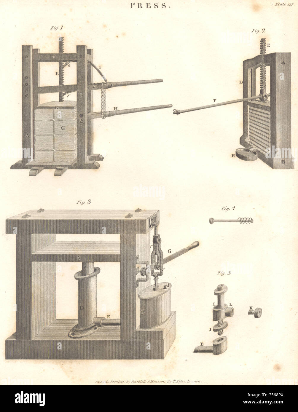 SCIENCE: Press. (Oxford Encyclopaedia), antique print 1830 - Stock Image
