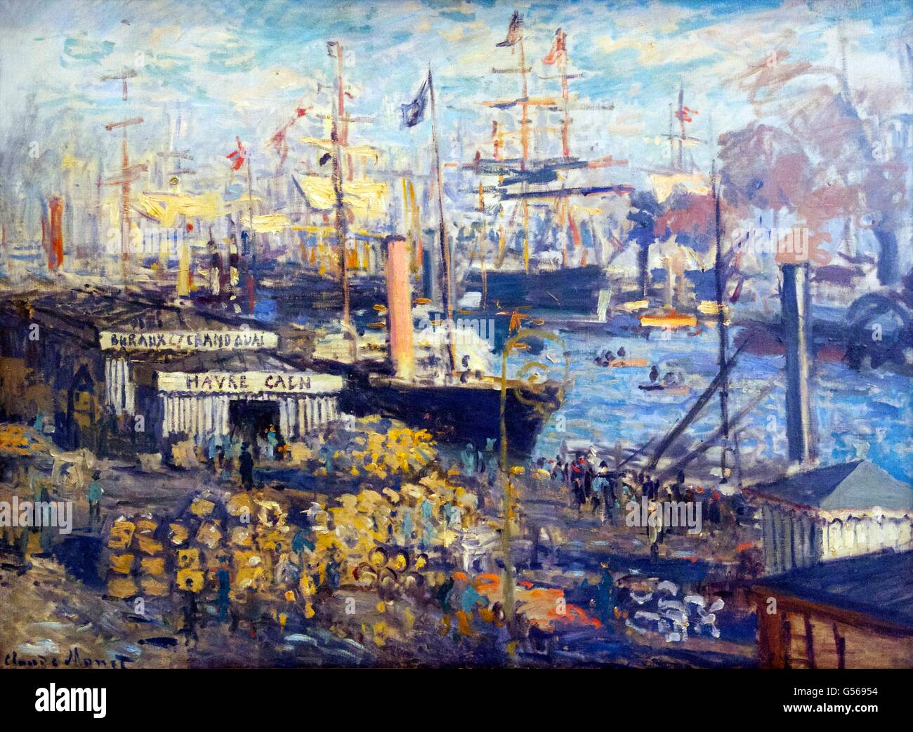Grand Quay at Le Havre, by Claude Monet, 1874, State Hermitage Museum, Saint Petersburg, Russia - Stock Image