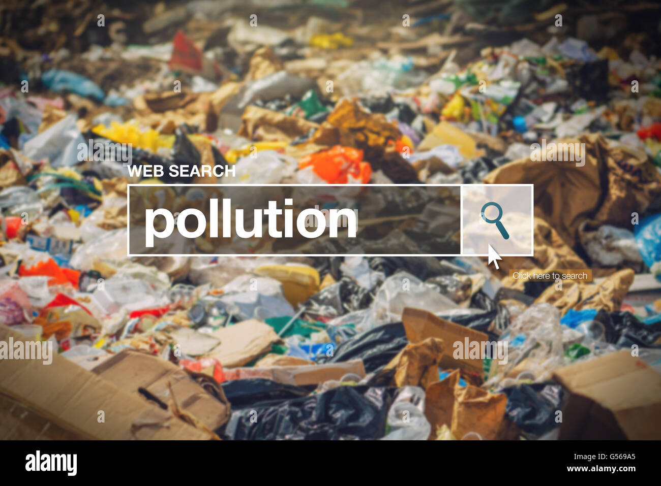 Pollution in internet browser search box with landfill detail in background. - Stock Image