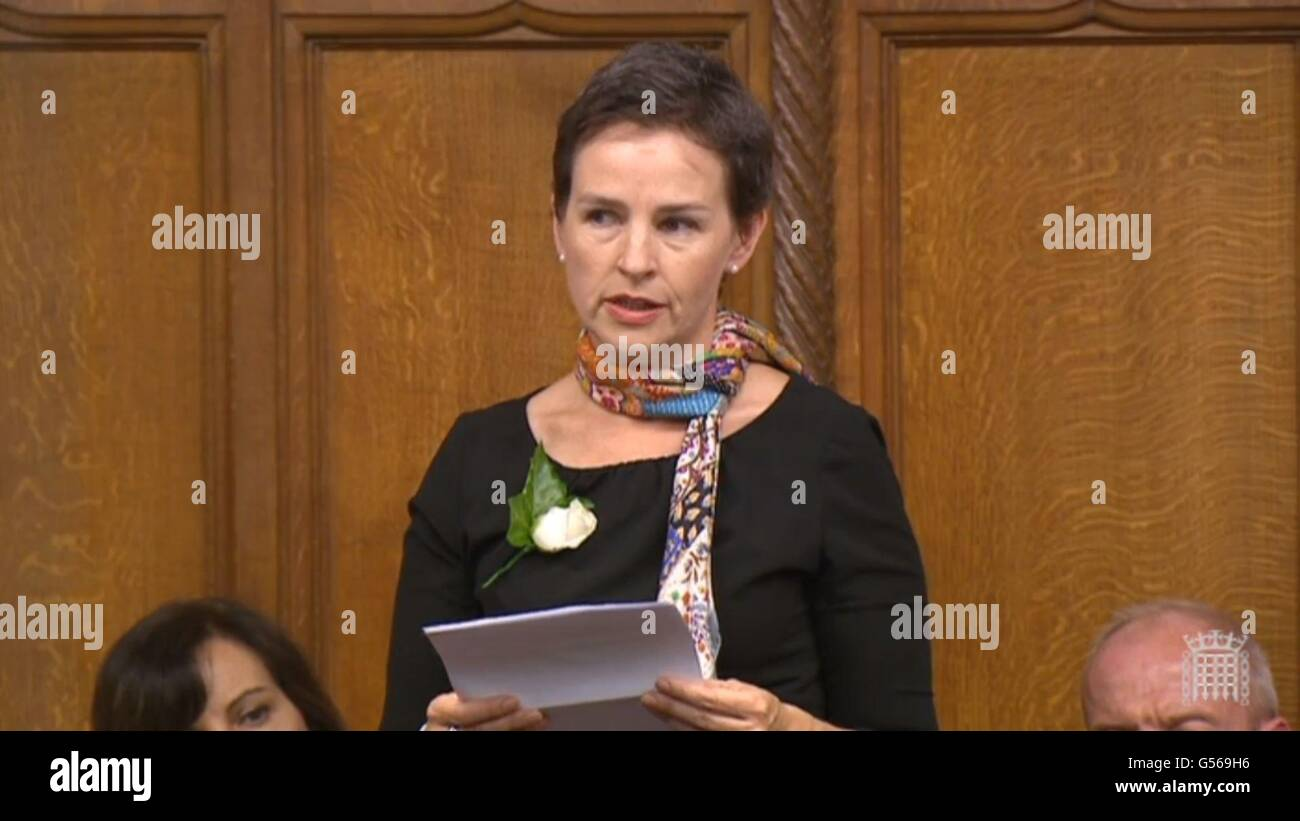 Labour MP Mary Creagh speaks in the House of Commons, London, as MPs gather to pay tribute to Labour MP Jo Cox. - Stock Image