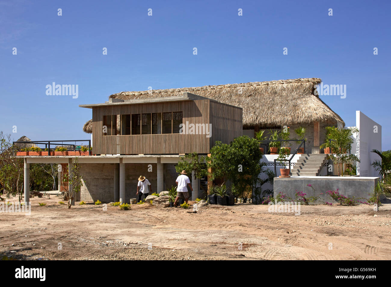Overall exterior view from side. Casa Cal, Puerto Escondido, Mexico. Architect: BAAQ, 2015. Stock Photo