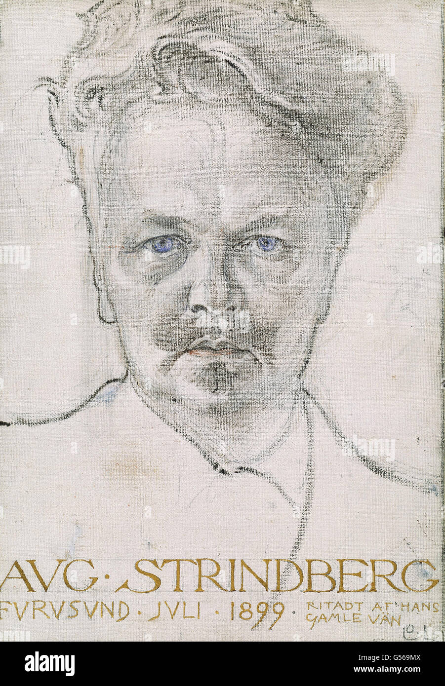 Carl Larsson - The author August Strindberg - Stock Image