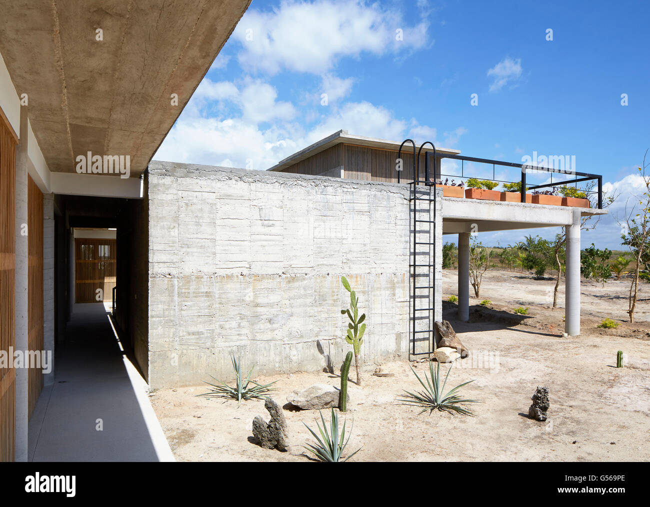Overall view from lower level. Casa Cal, Puerto Escondido, Mexico. Architect: BAAQ, 2015. - Stock Image