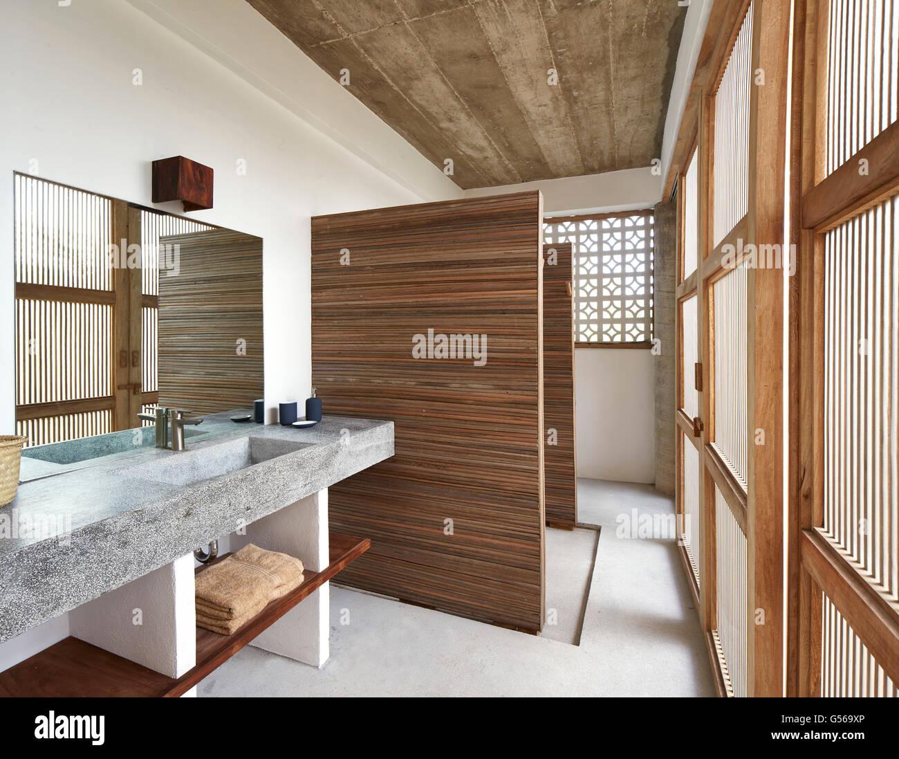 Bathroom. Casa Cal, Puerto Escondido, Mexico. Architect: BAAQ, 2015. Stock Photo