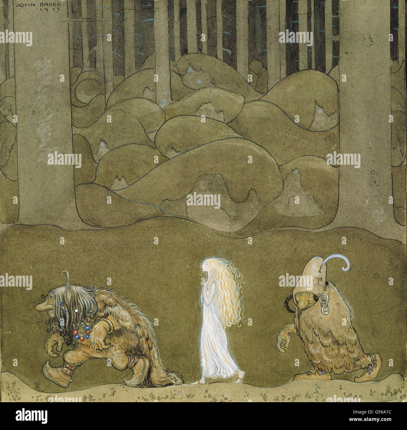 John Bauer - The Princess and the Trolls - Stock Image