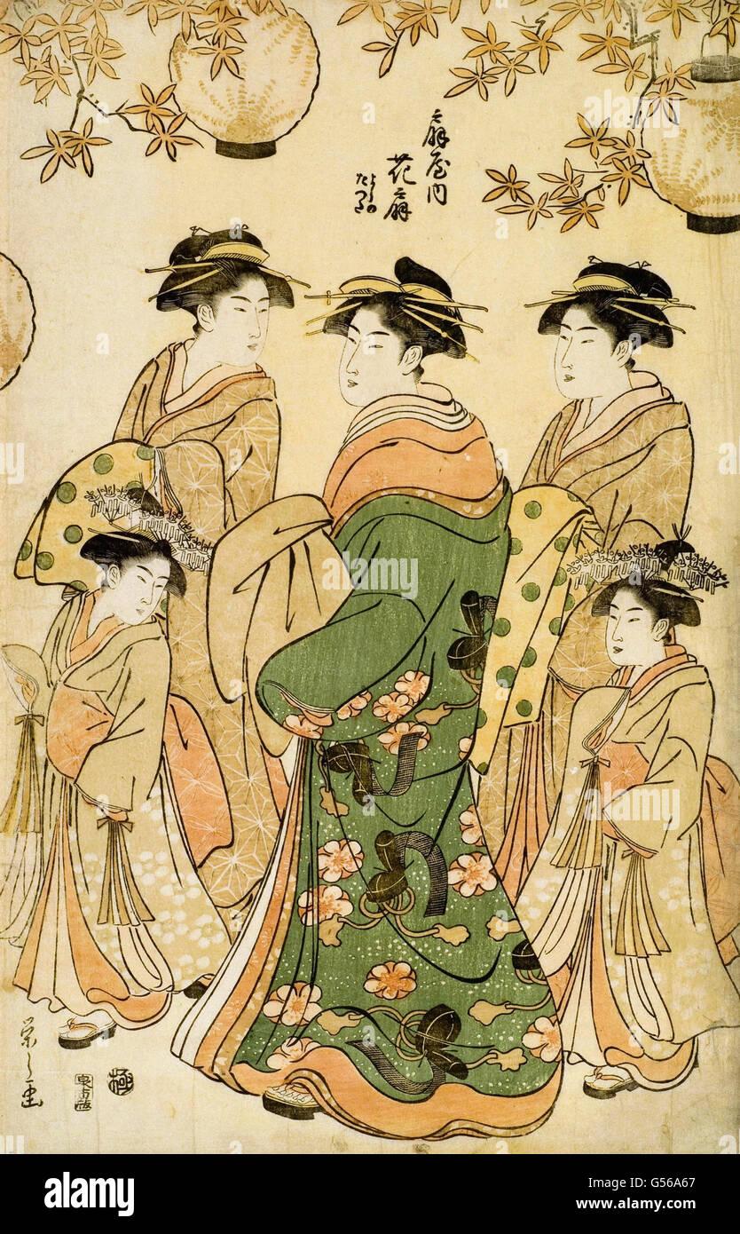 Chobunsai Eishi - Woodcut - Stock Image