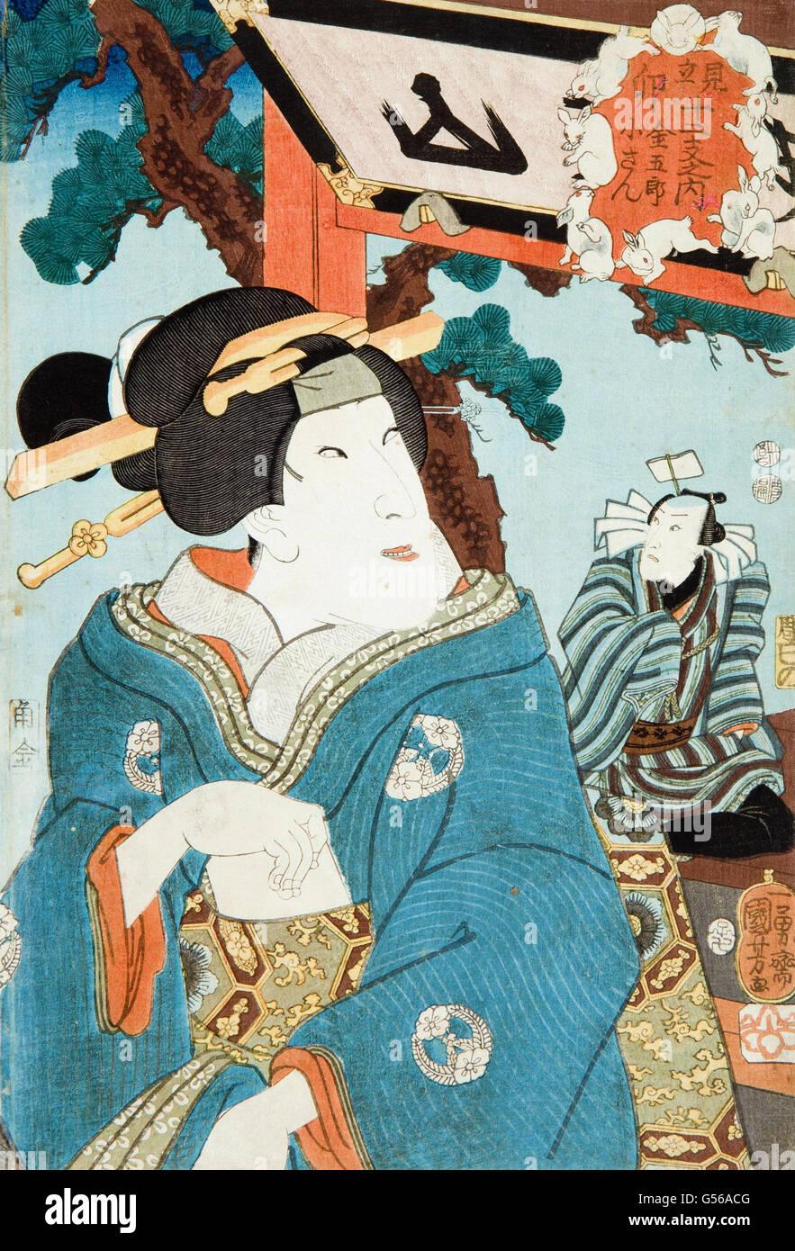 Utagawa Kuniyoshi - Woodcut - Stock Image