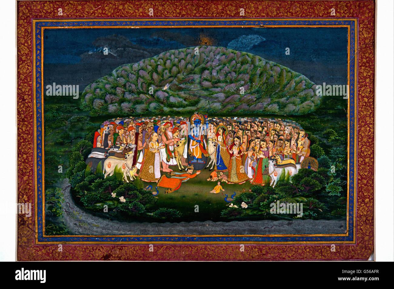 Krishna Lifting Mount Govardhan - Stock Image