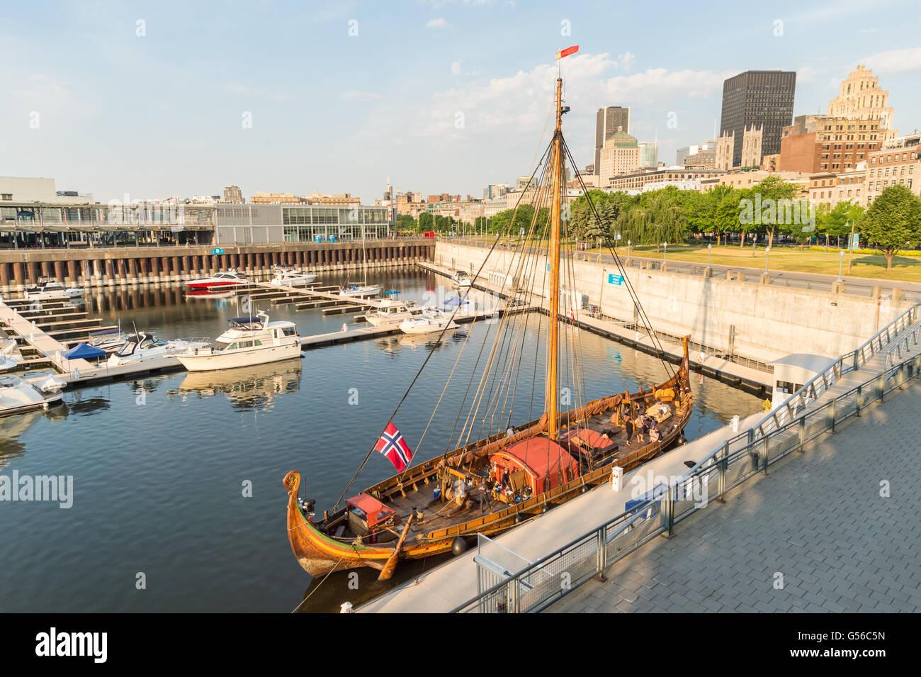 Montreal, Canada. 20th June 2016. Viking drakkar 'Draken Harald Harfagre' is moored in Montreal Old Port, - Stock Image
