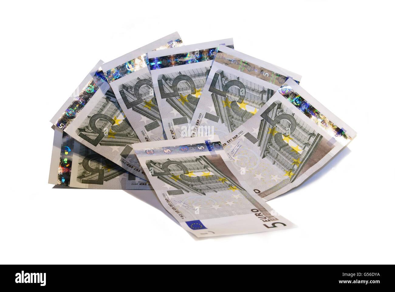 Five euro banknotes, Billetes de cinco euros - Stock Image