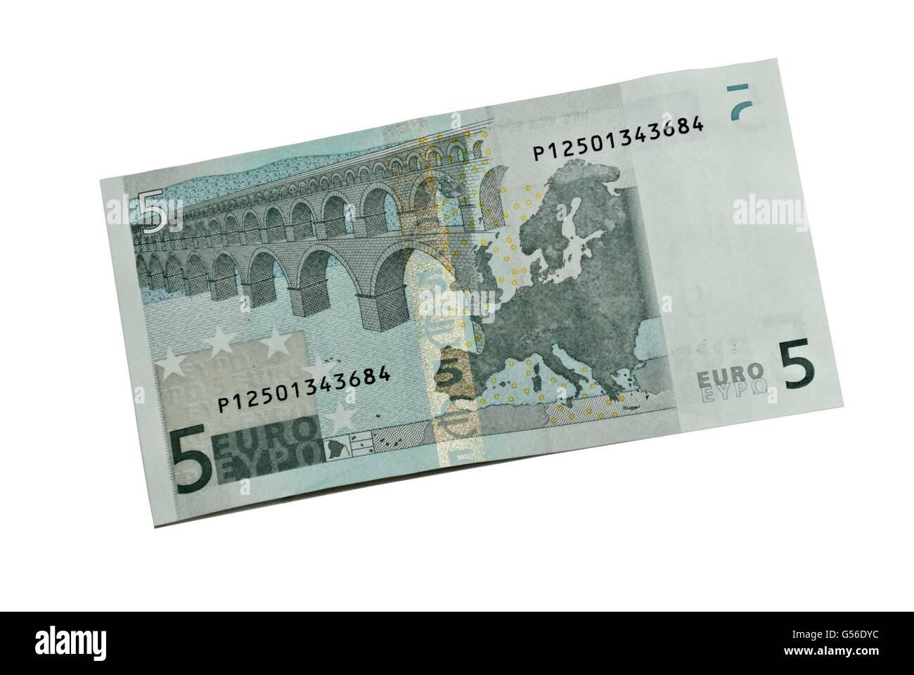Five euro banknote, Billete de cinco euros - Stock Image