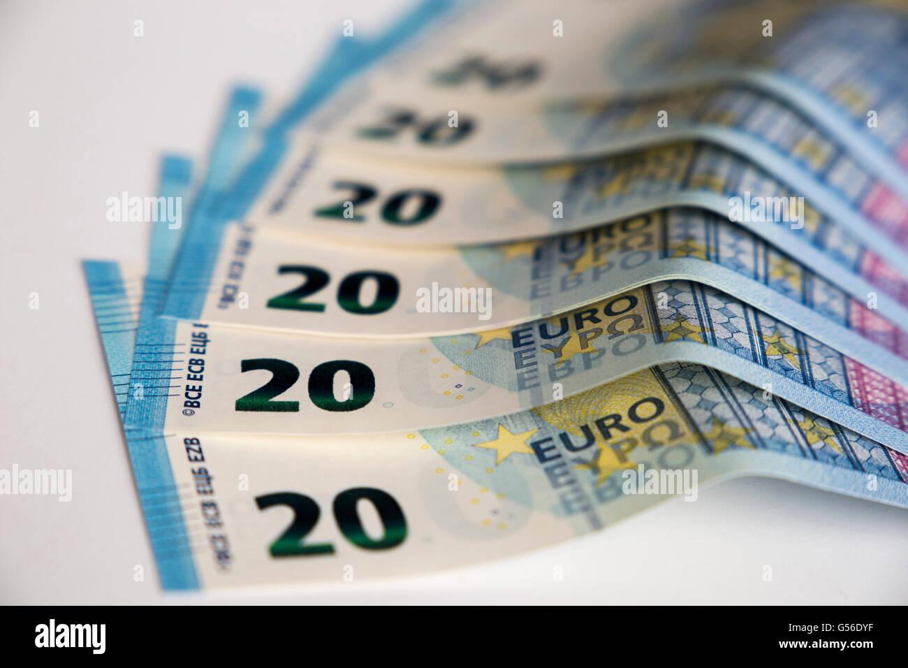 twenty euro banknotes, billetes de veinte euros - Stock Image