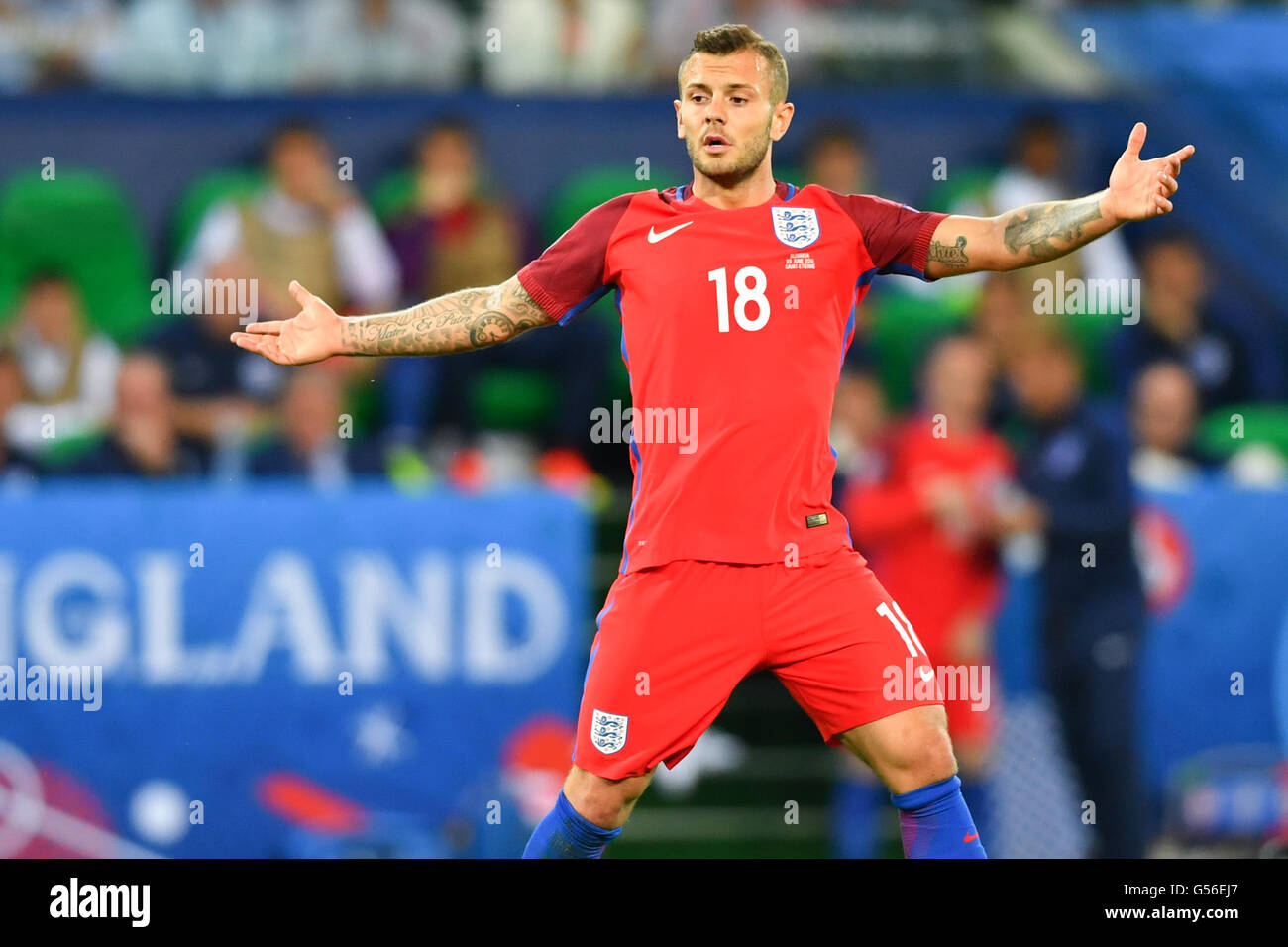 Saint-Etienne, France. 20th June, 2016. Jack Wilshere of England reacts during the preliminary round Group B match - Stock Image
