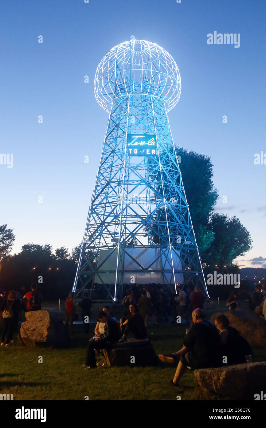 Zagreb, Croatia. 20th June, 2016. : Tesla Tower stage on the first day of 11th INmusic festival located on the lake Stock Photo