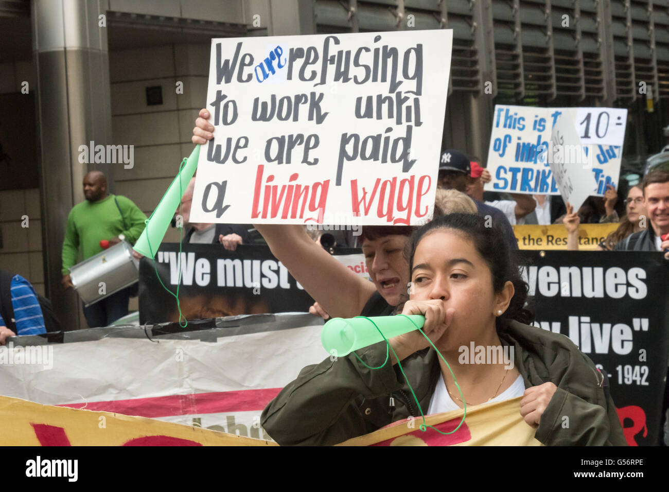 London, UK. June 21th, 2016. Cleaners belonging to the United Voices of the World union employed by anti-union cleaning Stock Photo