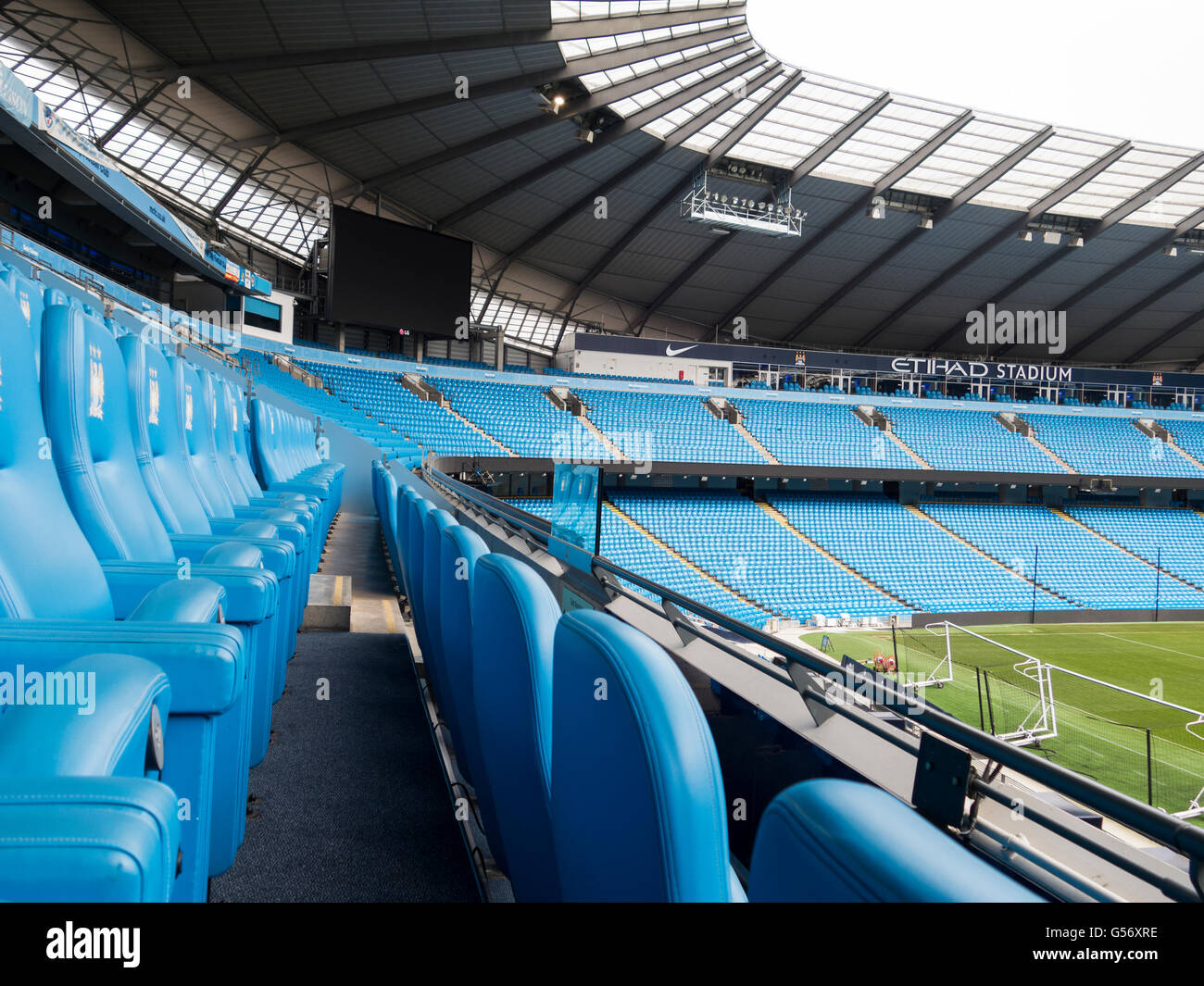 seats inside etihad stadium manchester city football club uk stock photo  106488242