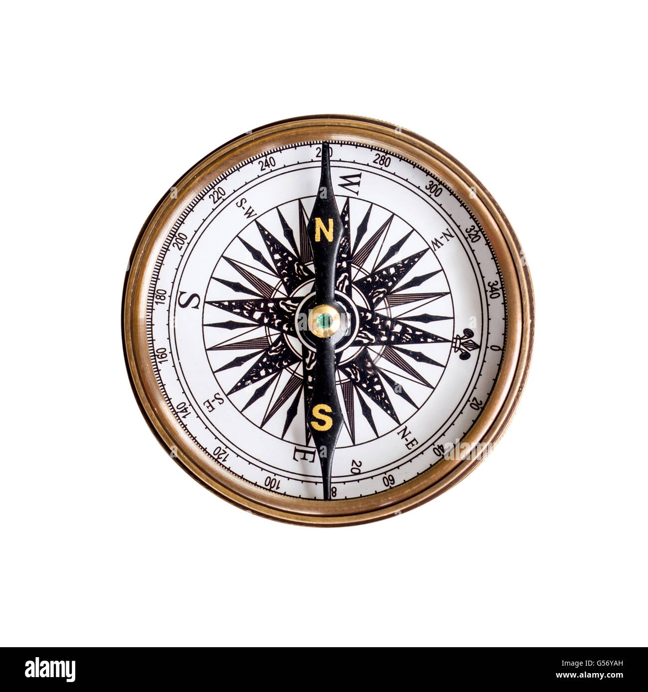 Compass on isolated white background with clipping path. - Stock Image
