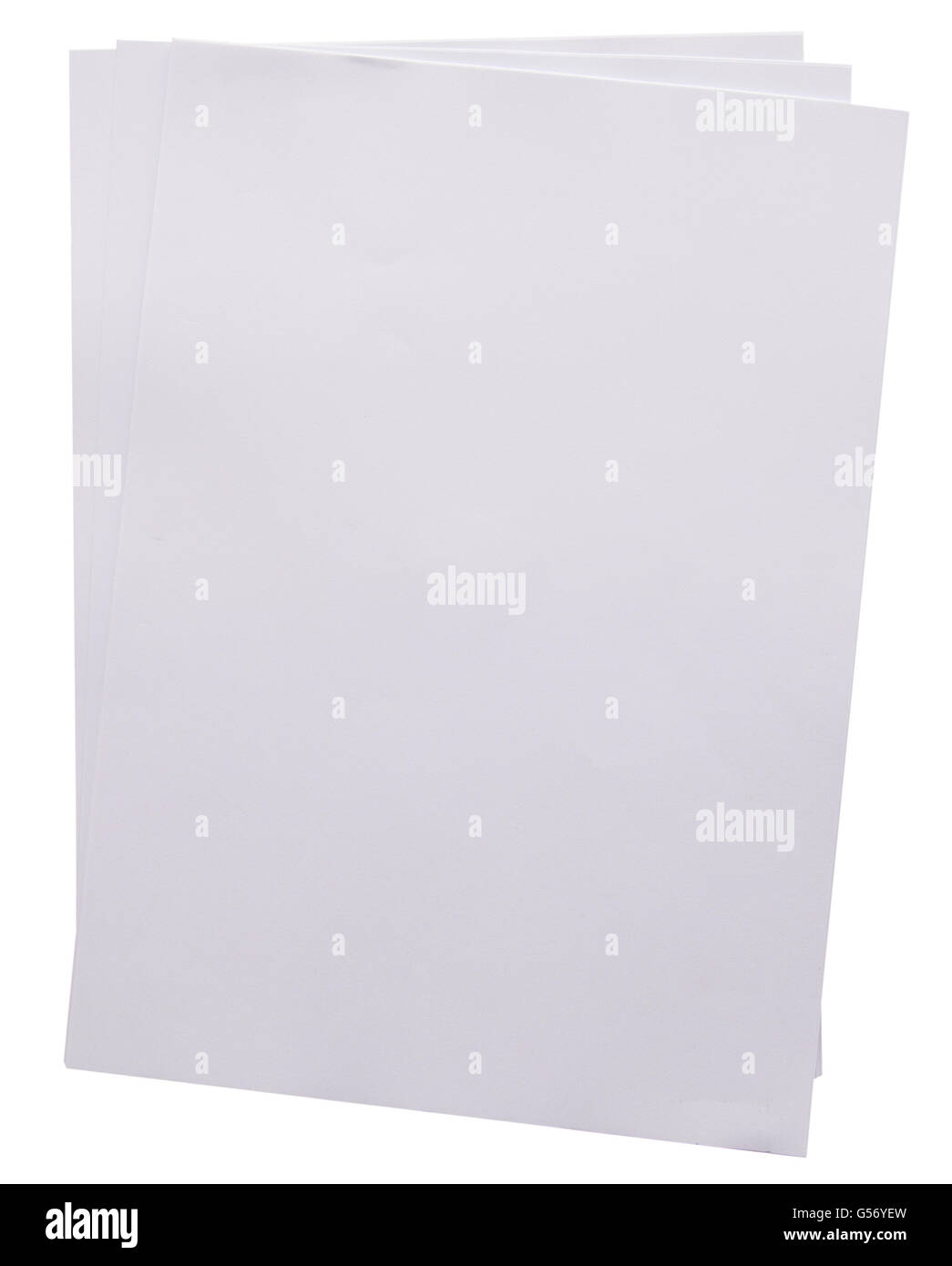 white paper sheet on isolaied with clipping path. - Stock Image