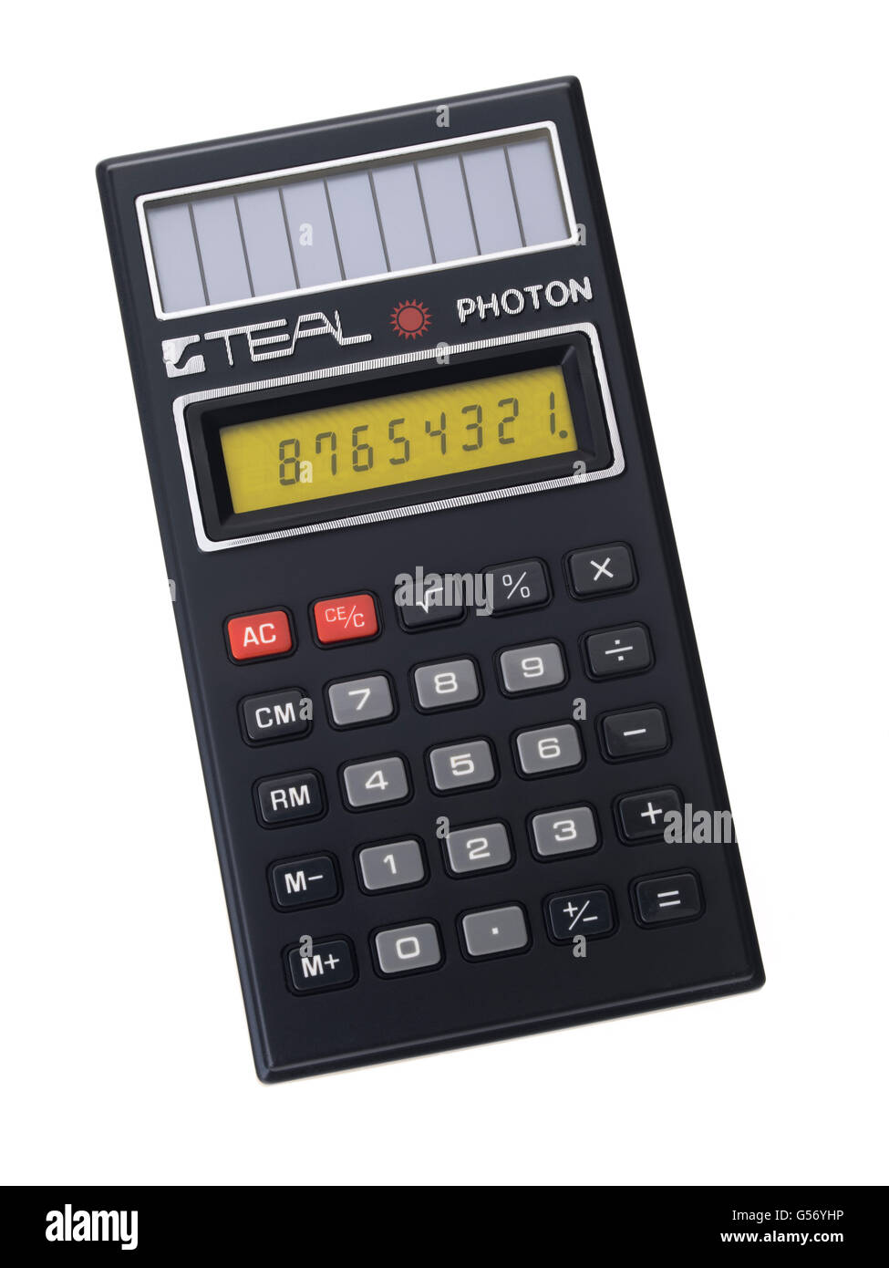 TEAL PHOTON  first solar cell powered calculator, introduced in 1978.  Teal Industries Inc., Carson, California, - Stock Image