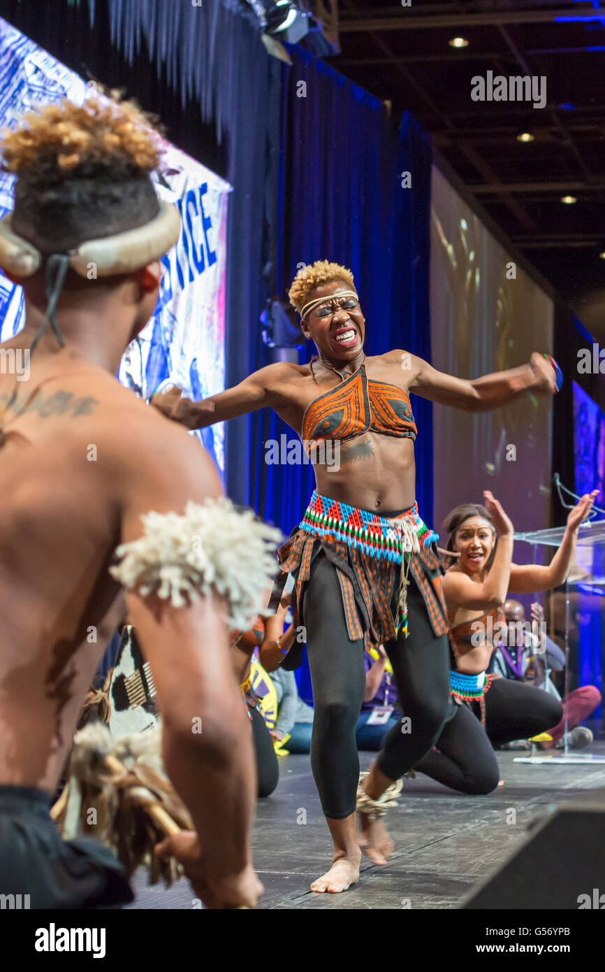 Detroit, Michigan - Step Afrika!, a step dance ensemble, performs at the Service Employees International Union convention. - Stock Image
