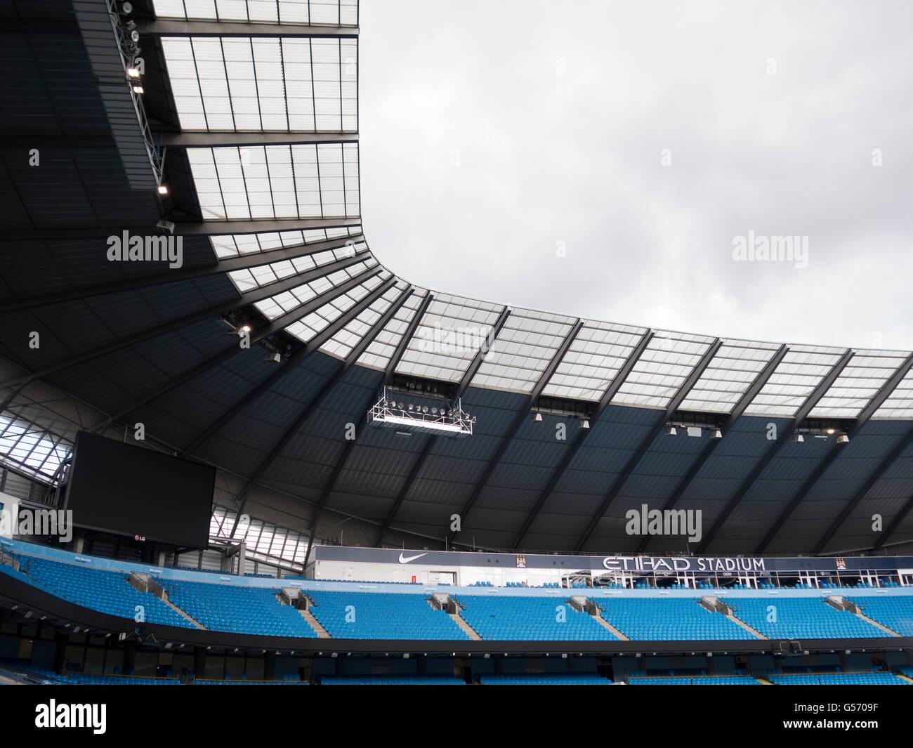 Etihad Stadium home of Manchester city football club UK - Stock Image