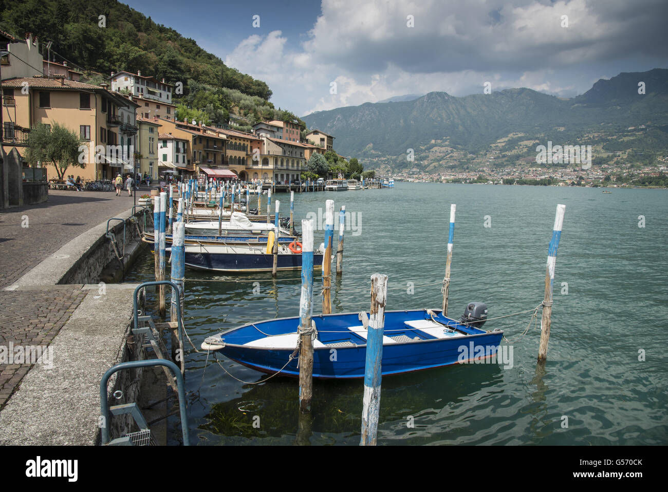 Boat moorings at town on lake island, Peschiera Maraglio, Monte Isola, Lago d'Iseo, Val Camonica, Central Alps, - Stock Image