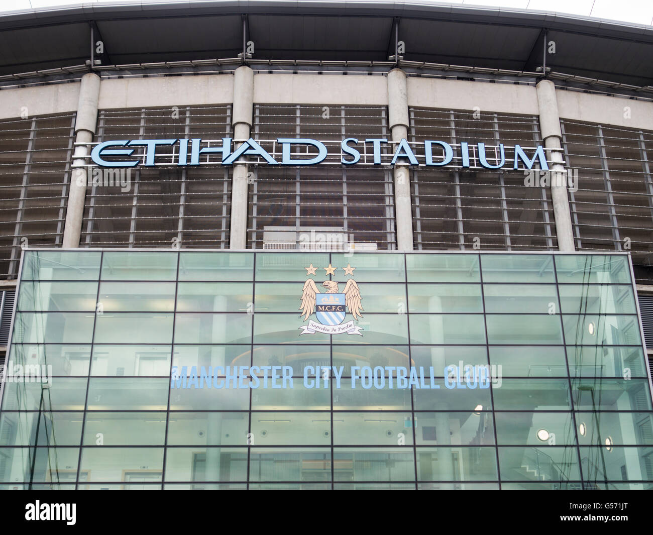 Etihad Stadium The Colin Bell Stand entrance - Stock Image