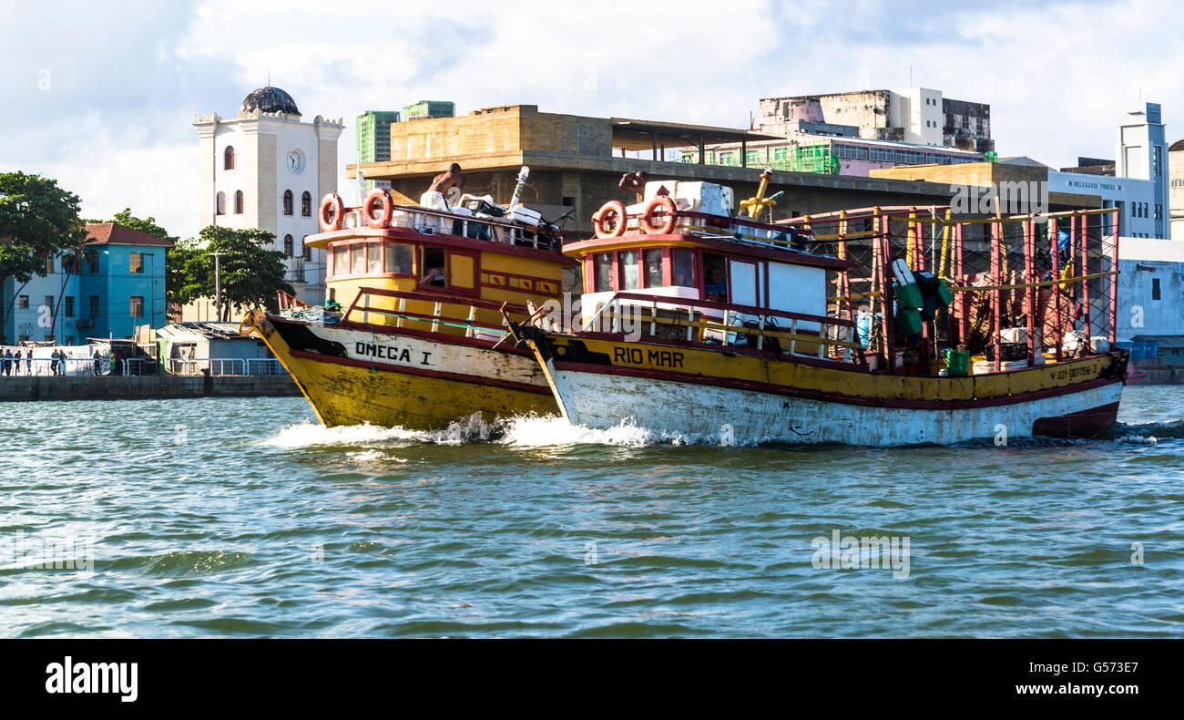 Fishing boats, Recife, Pernambuco, Brazil - Stock Image