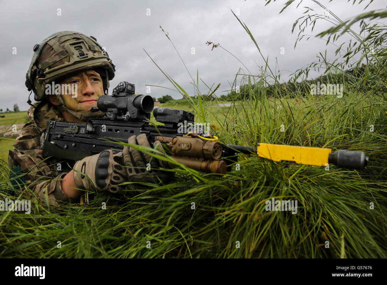 A British soldier with the 3rd Battalion, Parachute Regiment during assault training simulations in Swift Response - Stock Image