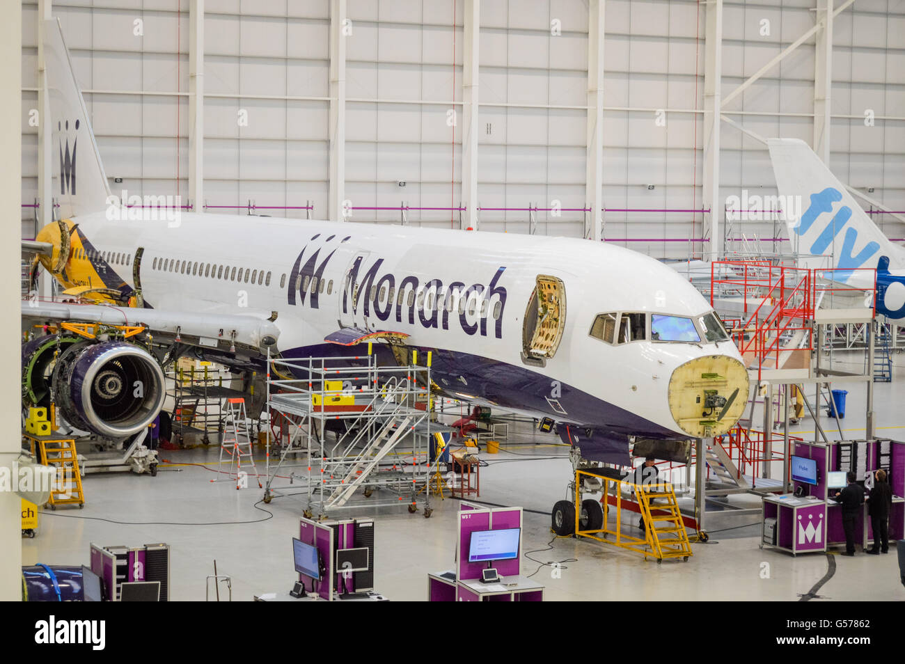 Monarch Airlines, Boeing 757-2T7 G-MONJ going through a refit in November 2013, This aircraft first flew on the - Stock Image