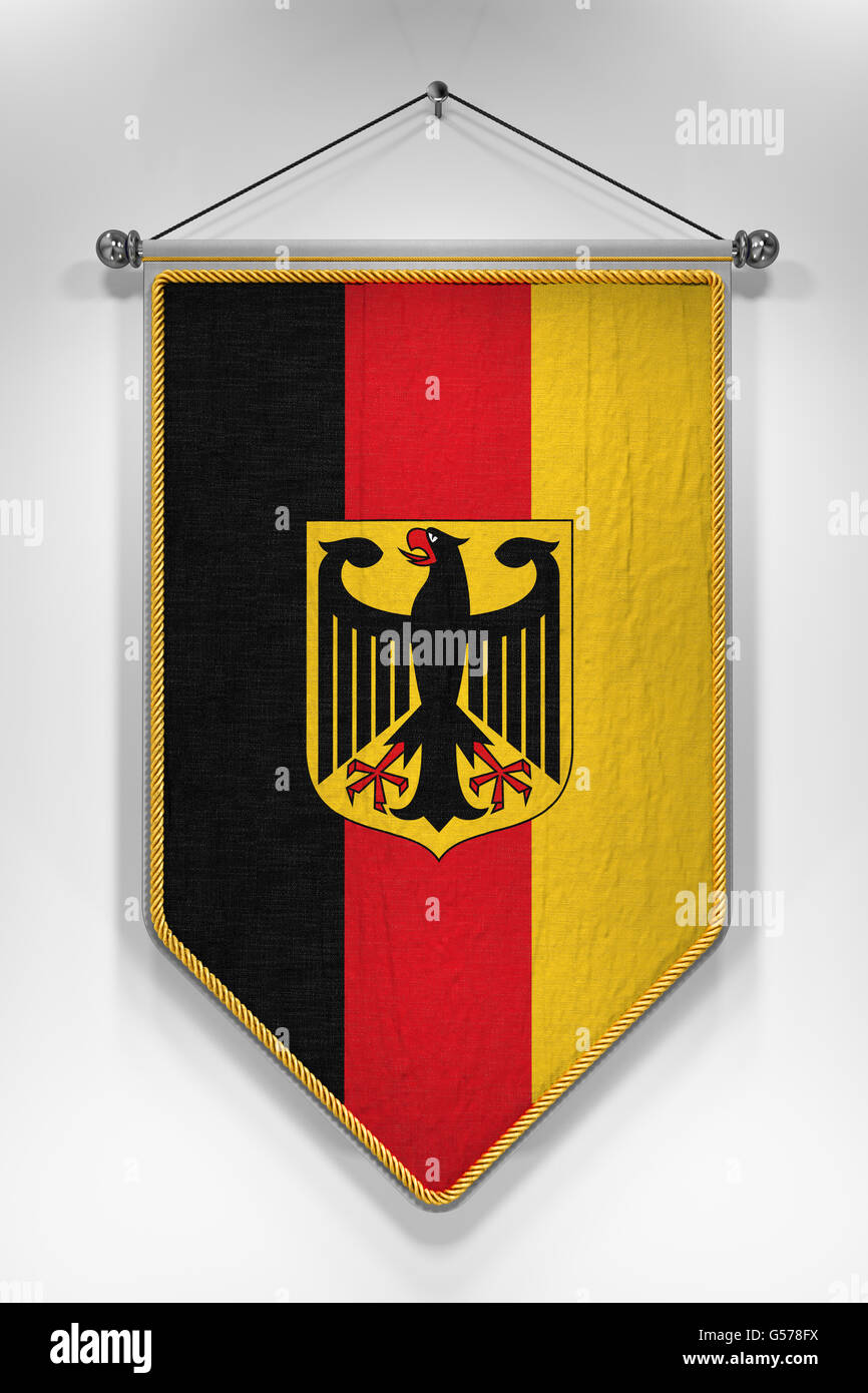 Pennant with German flag. 3D illustration with highly detailed texture. - Stock Image